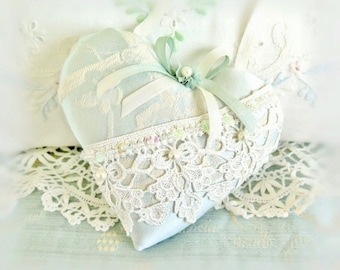 "Heart Door Hanger 5"" Fabric Heart / Heart Pillow / Aqua Damask Decorator Fabric, Primitive Handmade CharlotteStyle Decorative Folk Art"