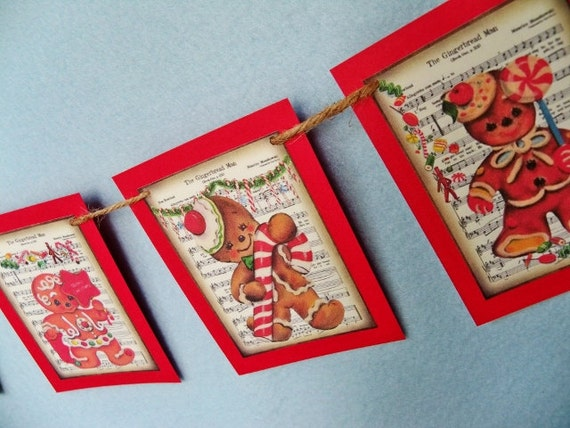 mini Gingerbread Boy Banner, Rustic Look, Christmas Garland, Cardstock Bunting, Holiday Decoration, Gingerbread Man Decor