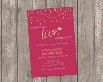 Printable fall baby shower invitation / autumn baby shower invite / baby girl fall shower invitation / fall in love invitation
