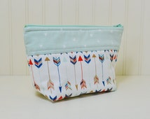 Arrows Theme Cosmetic Bag - Stand up Makeup Bag - Toiletries Zipper Pouch - Small Craft Project - Mint Green Geometric Shapes - Gift for Her
