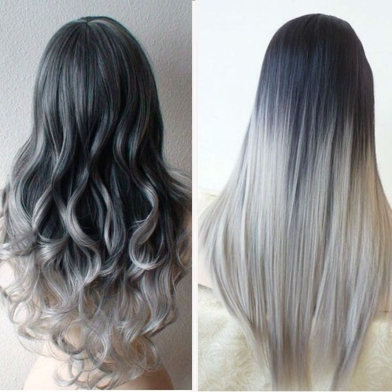 Haare ombre grau
