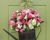 Spring Wreath - Tulip Wreath - Hydrangea Wreath - Mothers Day Gift - Watering Can Wreath