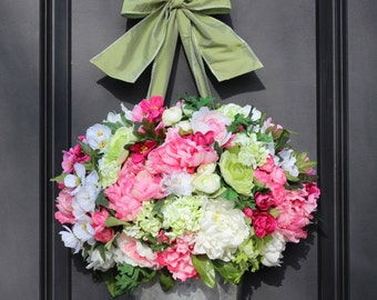 Door Wreath -  Peony Hydrangea Wreath - Door Wreath - Mothers Day Gift
