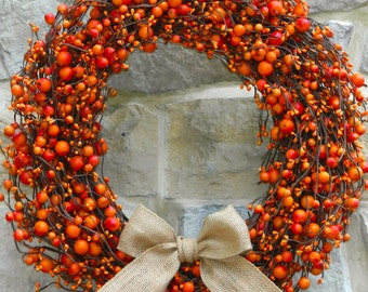 Fall Wreath - Autumn Door Decor - Outdoor Wreath - Choose Bow - Many Options