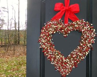 Red Heart Wreath - Valentine Wreath - Valentine Gift -  Wreath - Large Wreath -