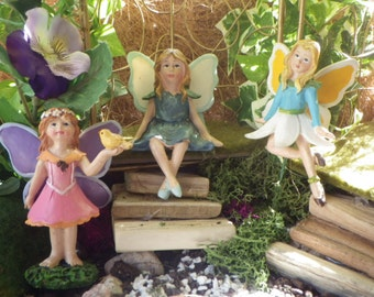 Three Cute Fairy Friend Miniatures for the Fairy Garden or Doll House