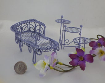 Lavender Chaise Lounge or 3 Tier Plant Stand for Fairy Garden or Dollhouse Spring Fun