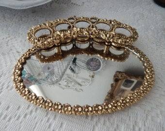 Darling Shabby Chic Vintage Vanity Lipstick Holder and Mirror
