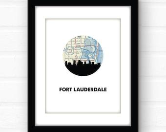 Fort Lauderdale, Florida map print | Florida beach decor | Florida home decor | south Florida souvenir | East Coast travel poster art