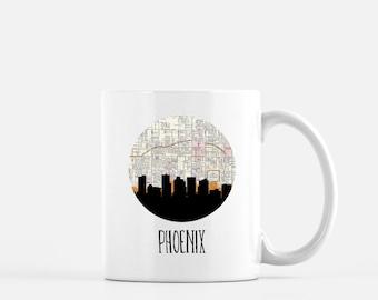 Phoenix skyline mug | Phoenix Arizona mug | Phoenix map mug | city skyline mug | Phoenix gift | Arizona gift | city mug | skyline gift mug