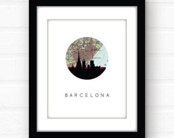 Barcelona map art | Barcelona print | Barcelona art | Barcelona poster | Barcelona, Spain skyline print | city skyline art | vintage map art