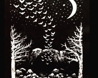The Bats Come Out at Night original art Backpatch