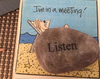 LISTEN Engrave River Rock