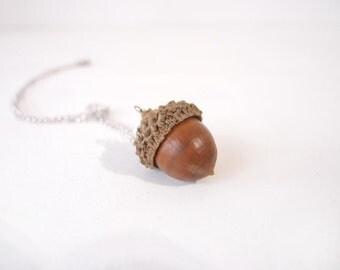 Miniature acorn necklace