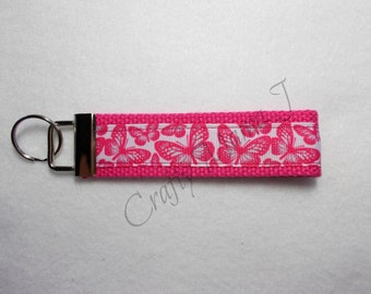 Hot Pink Butterfly Print Ribbon Key Fob Keychain Wristlet