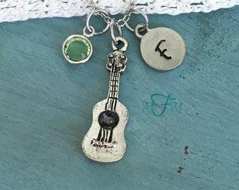 Acoustic Guitar Charm Necklace, Personalized Necklace, Silver Pewter Guitar Charm, Custom Necklace, Swarovski Crystal birthstone, monogram