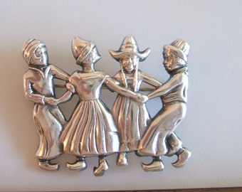 Vintage Small Sterling Silver Dutch Brooch Pin by Lang 1950's Mid-Century  Dutch People Dancing in Costume Netherlands  Holland Pin Brooch