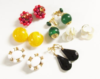 LoT Vintage Earrings Retro Earrings Clip on Screw Back Celluloid Shell 6 pairs