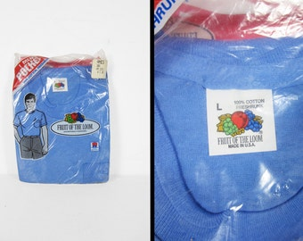 Vintage NOS Pocket T-shirt Fruit of the Loom Blue Deadstock Made in USA - Large