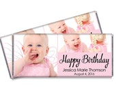 Photo Candy Bar Wrappers - Girls Personalized Birthday Party Favors with Photo - Set of 12