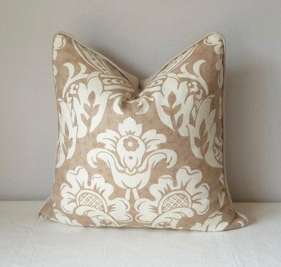 Brown Linen Throw Pillow : Floral Medallion Decorative Pillow Ivory Brown Linen Pillow
