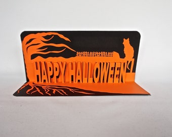 HAPPY HALLOWEEN 3D Pop-Up Card in Orange & Black w/Cat on a Fence and a Tree. Home Décor Handmade Original Design One Of A Kind