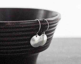 Sterling Silver Earrings, Textured Leaf Motif Earring, Botanical Sterling Earring, Handmade Silver Earrings, Sterling Circle Earrings