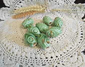 8 Med Glazed Ceramic Macrame Beads-Oval Shaped-Handcrafted-Green-Bayou Rain-CIR1