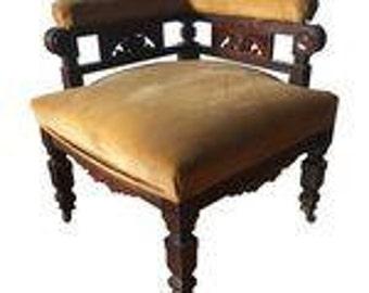 Eastlake Parlor Chair Yellow Velvet Antique Original Castors. Fig House Vintage Atlanta