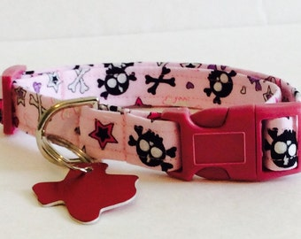 Pink Skulls Collar - Adjustable