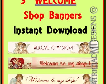 "3 - PRE-Made Shop Banners. ""Welcome to my shop""-Instant Download-Angels Theme"