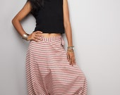 Harem Pants / Striped Pants / Wide leg pants / Washed Maroon Striped Harem Pants : Nature Touch Collection III