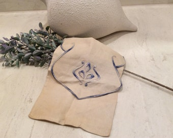 Vintage Blue Embroidered Linen Bag, Vintage Linens, Vintage Embroidery