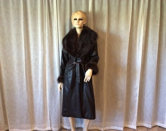 Giuliani Teso Bergdorf Goodman Dark Brown Soft Leather Full Length Belted Coat with Dark Brown Racoon Fur Wide Detachable Collar and Cuffs