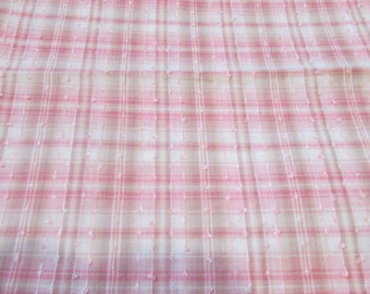 Vintage Pink and White Plaid Textured Cotton Fabric, Vintage Textiles, Vintage Cotton Material, Vintage Cotton Fabric