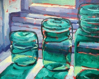 Original Oil Painting, Mason Jars, Art, Original Art, Green Jars, Painting