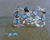 Mermaid scales, hearts, dragon fly hand wired bracelet and matching earrings