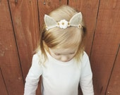 Little Felt Ears Flower Headband - Newborn Photo Prop - Beige - Thin - Kitten Cat - Tan - Rustic - Fox Ears - Costume - Woodland Critter
