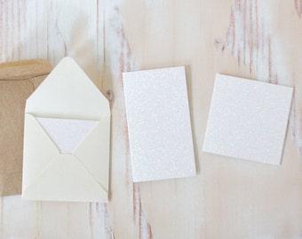 White Glitter Mini Folded Note Cards - 10 pc