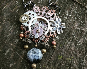 Steampunk Industrial Neo-Victorian Ooak Filigree Lace Chandelier Collage Necklace