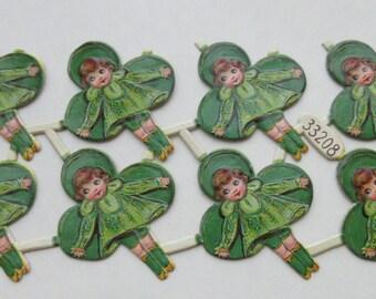SALE 2 for 1!! Vintage/Antique German Girl Leprechaun St Patrick's Diecut Victorian Scrap 8 pcs