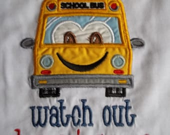 School Bus - Back to School Short Sleeve Appliqued Tshirt - Infant and Toddler Size Tshirt - 6 months to 5/6