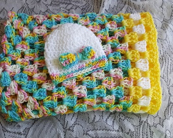Crochet Baby Girl Blanket Travel Size  28x28 Hat Beanie Hair Bow Accessory 0-3 Months FREE SHIPPING Ready to Ship