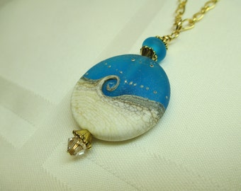 Ocean Wave Lampwork Bead Necklace in Bright Blue