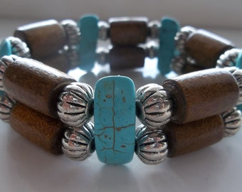 Turqouise Wood and Metal- Two teir- Gemstone-Western Cowboy Rodeo- Beaded Stretch Bracelet  (445)