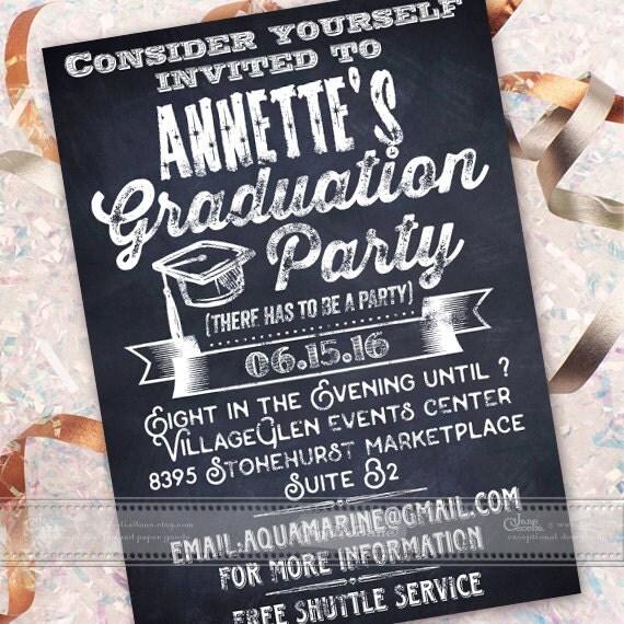 graduation party invitations, chalkboard graduation party invitations, high school graduation party invitations, grad party, IN449
