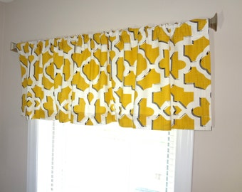 Curtain Valance Topper Window Treatment 52x15 Geometric Golden Yellow White Black Valance Geometric Valance