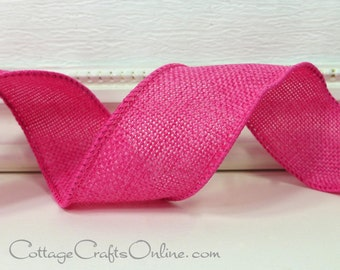 "Wired Ribbon, 1 1/2"" Pink Poly Burlap, Linen Look - THREE YARDS - Offray  ""Solitude"" Easter, Spring Craft Wire Edged Ribbon"