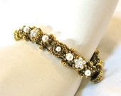 1960's Antiqued Pearl Bracelet, Victorian Revival, Excellent