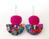 Pom Scallop Drop - Hot Pink Pom Pom & Fireworks Glitter - Laser Cut Acrylic Drop Earring - Each To Own
